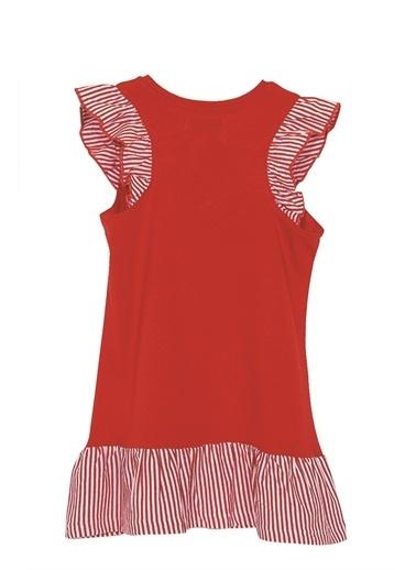 Silversun Kids Kız Çocuk Baskılı Kolları Ve Etekleri Fırfırlı Örme Elbise Ek 216117 Kırmızı